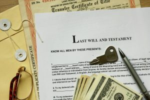 last will and testament with dollar , certificate and key.