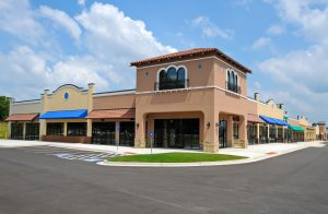 Image of a new shopping center signifying commercial leasing.