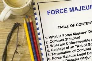 Force majeure definition concept- with cover of a lecture defining force majeure.