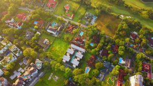 Aerial view of an urban real estate development symbolizing real estate law and HOA's.
